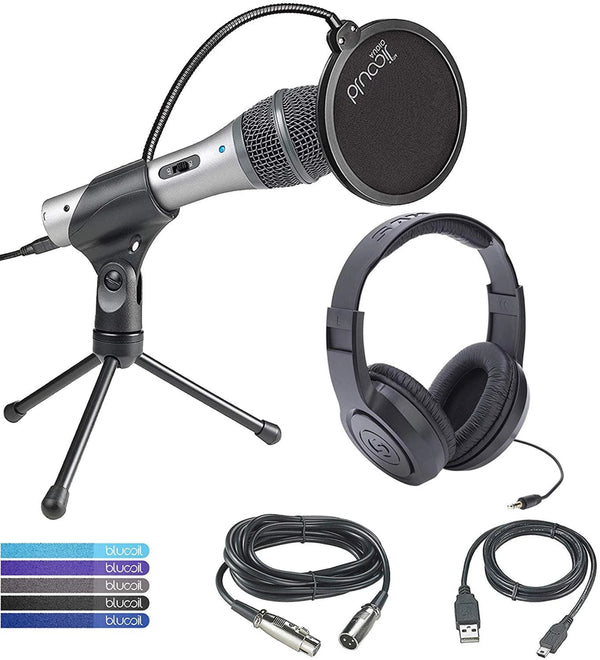Audio-Technica ATR2100-USB Cardioid Dynamic USB/XLR Microphone Bundle with Samson SR350 Over-Ear Closed-Back Headphones, Blucoil Pop Filter Windscreen, and 5-Pack of Reusable Cable Ties