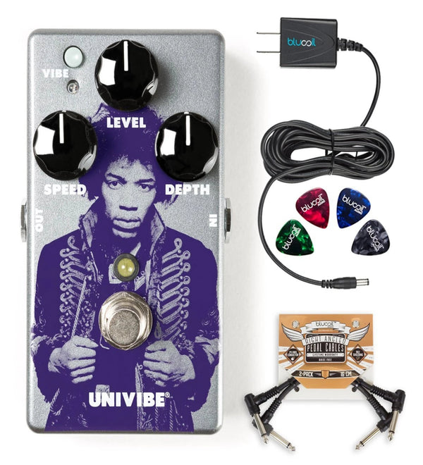 Jim Dunlop JHM7 Jimi Hendrix Uni-Vibe Chorus/Vibrato Pedal BUNDLED WITH Blucoil Power Supply Slim AC/DC Adapter for 9 Volt DC 670mA, 2 Pack of Blucoil Pedal Patch Cables AND 4 Celluloid Guitar Picks