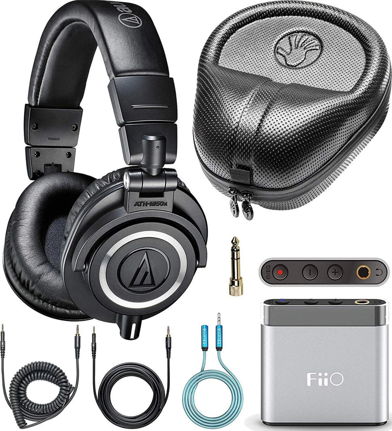 Audio-Technica ATH-M50x Headphones + FiiO A1 Headphone Amp + Slappa Hard Case + Blucoil 6' 3.5mm Extension Cable