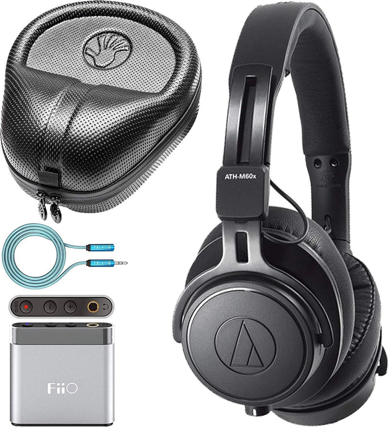 Audio-Technica ATH-M60x Closed Back Headphones with Interchangeable Cables Bundle with FiiO A1 Portable Headphone Amp, Slappa Full-Sized Headphone Case, and Blucoil 6' 3.5mm Extension Cable