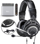 Audio-Technica ATH-M50x Closed Back Dynamic Headphones Bundle with Antlion Audio ModMic 4 Noise Canceling Attachable Boom Microphone with Mute Switch and FiiO A1 Portable Headphone Amplifier (Silver)