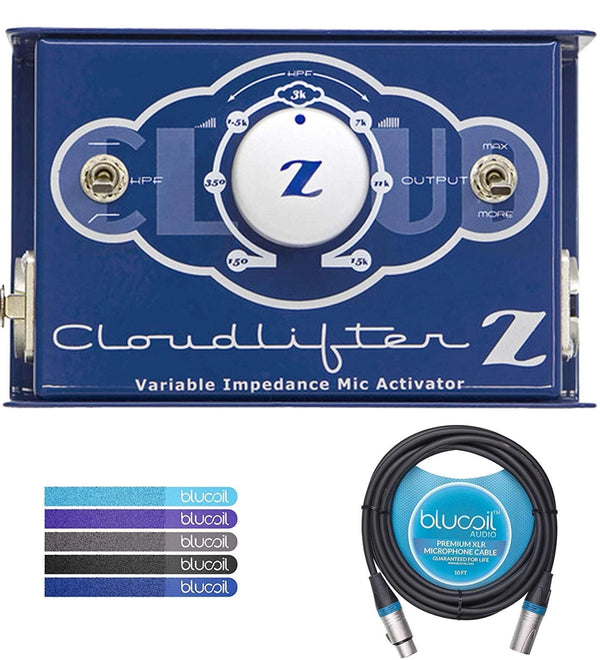 Cloud Microphones Cloudlifter CL-Z Mic Activator Bundle with Blucoil 10-FT Balanced XLR Cable and 5-Pack of Reusable Cable Ties