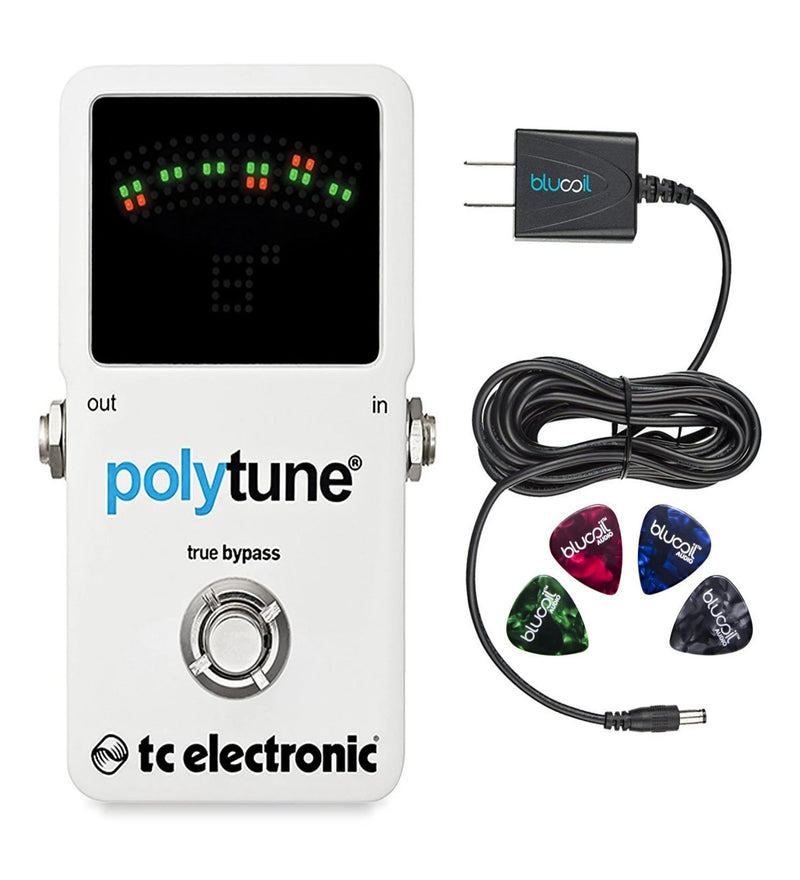 TC Electronic Polytune 2 Polyphonic Guitar Tuner Pedal Bundle with Blucoil Slim 9V 670ma Power Supply AC Adapter and 4 Pack Guitar Picks