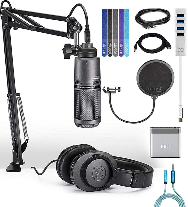 Audio-Technica AT2020USB+PK Streaming Pack Bundle with FiiO A1 Portable Headphone Amp, Blucoil Type-C Hub, 10-FT Type-A to Type-A USB 2.0 Cable, Pop Filter, 6' 3.5mm Extension Cable, and 5x Cable Ties