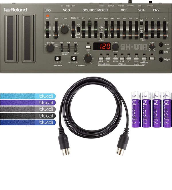 Roland SH-01A Sound Module with Integrated Arpeggiator, Sequencer Bundle with 4-Pack of AA Batteries and 5-Pack of Cable Ties