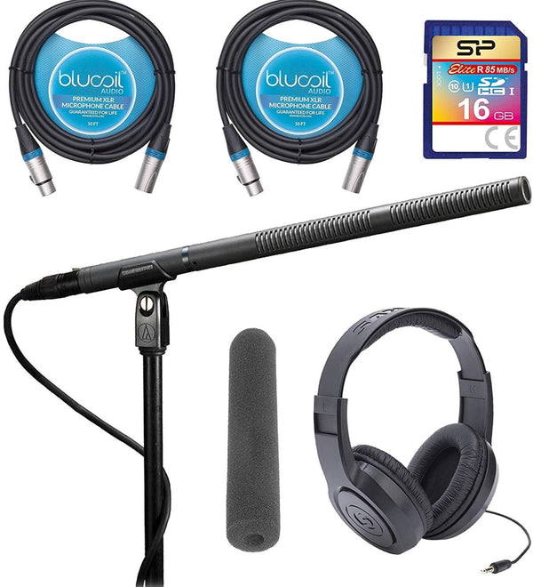 Audio-Technica AT8035 Condenser Microphone Bundle with Extra AT8132 Shotgun Mic Windscreen Foam (Black), Samson SR350 Headphones, Silicon Power 16GB Class 10 SD Card, Blucoil 2-Pack of 10' XLR Cables