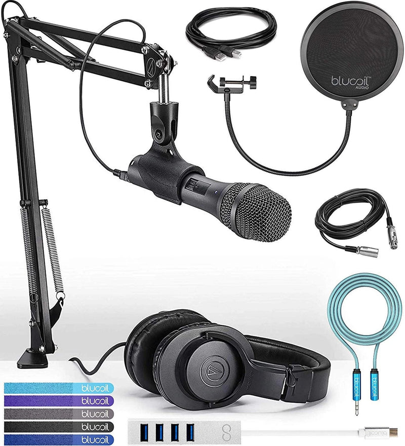 Audio-Technica AT2005USBPK Streaming/Podcasting Pack Bundle with USB and XLR Cables, Hosa 10' USB Type A Extension Cable, Blucoil Type-C Hub, Pop Filter, 6' 3.5mm Extension Cable, and 5x Cable Ties