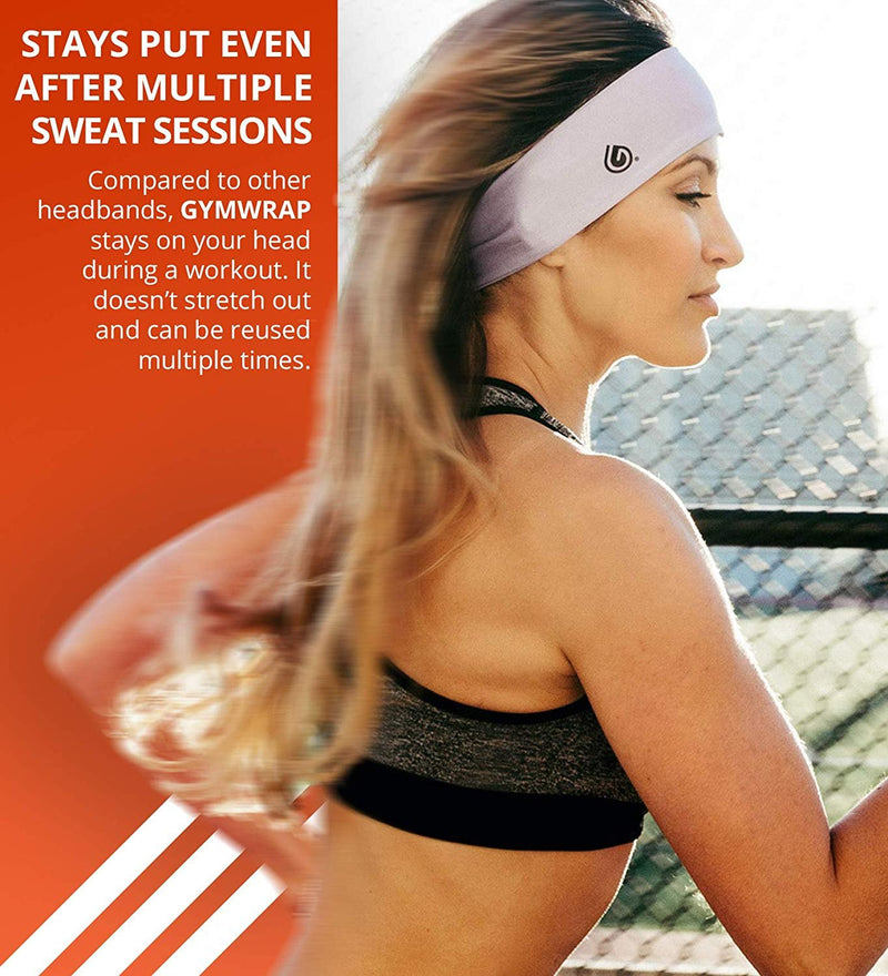 GymWrap Sweat Wicking Fitness Headband for Men and Women - Evapotech Workout Sweatband for Yoga Exercise, Running, Active Lifestyle, and Outdoor Activities
