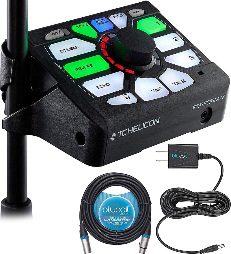 TC Helicon Perform-V Vocal Effects Processor Bundle with Blucoil Power Supply Slim AC/DC Adapter 12V DC 1000mA with US Plug and Blucoil Audio 20' Balanced XLR Cable