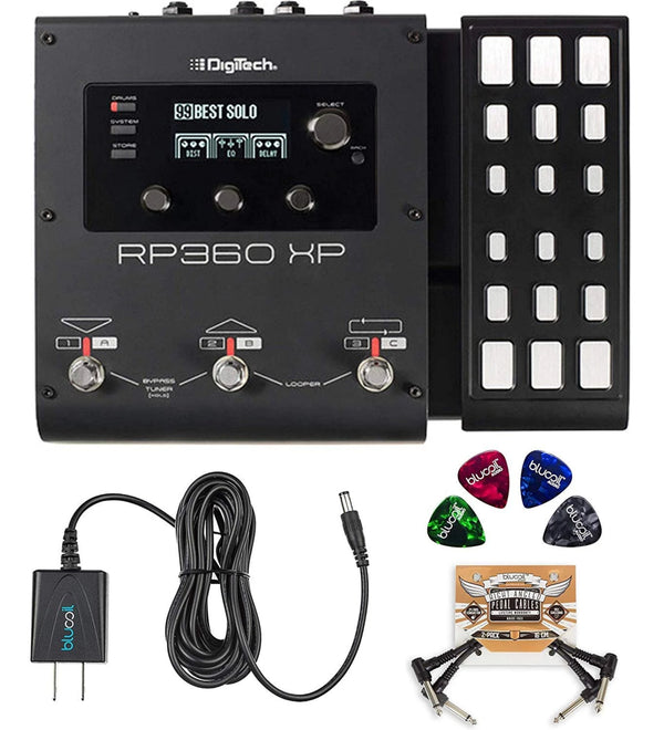 DigiTech RP360XP Multi-Effects Processor with Expression Pedal + Blucoil 9V AC Adapter + 2x Pedal Patch Cables + 4x Guitar Picks