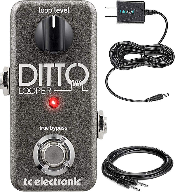 TC Electronic Ditto Looper Effects Pedal Bundled with Hosa 10-FT Straight Instrument Cable (1/4in), and Blucoil Slim 9V 670ma Power Supply AC Adapter
