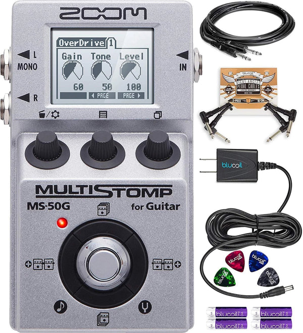 Zoom MS-50G MultiStomp Multi-Effects Pedal Bundle with Hosa 10-FT Straight Instrument Cable (1/4in), Blucoil Slim 9V 670ma Power Supply AC Adapter, 2x Patch Cables, 8x Guitar Picks, and 4 AA Batteries