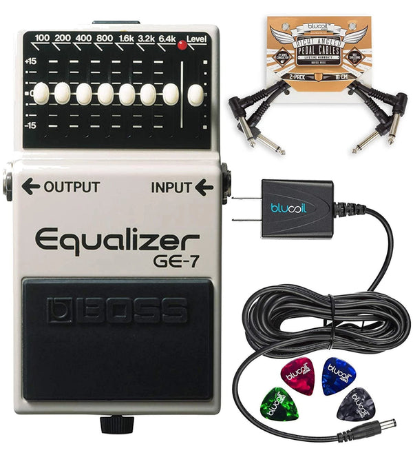 BOSS GE-7 Equalizer Pedal with 7 Band EQ Bundle with Blucoil 9V DC Power Supply with Short Circuit Protection, 2-Pack of Pedal Patch Cables and 4-Pack of Celluloid Guitar Picks