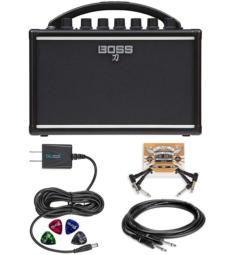 BOSS Katana Mini Guitar Amplifier Bundle with Hosa 5-FT Straight Instrument Cable (1/4in), Blucoil Slim 9V Power Supply AC Adapter, 2-Pack of Pedal Patch Cables and 4-Pack of Celluloid Guitar Picks