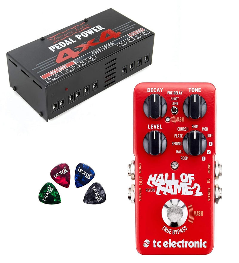 TC Electronic Hall of Fame 2 Reverb Pedal with TonePrint Bundle with Voodoo Lab Pedal Power 4x4 Linear Power Supply and 4-Pack of Blucoil Guitar Picks