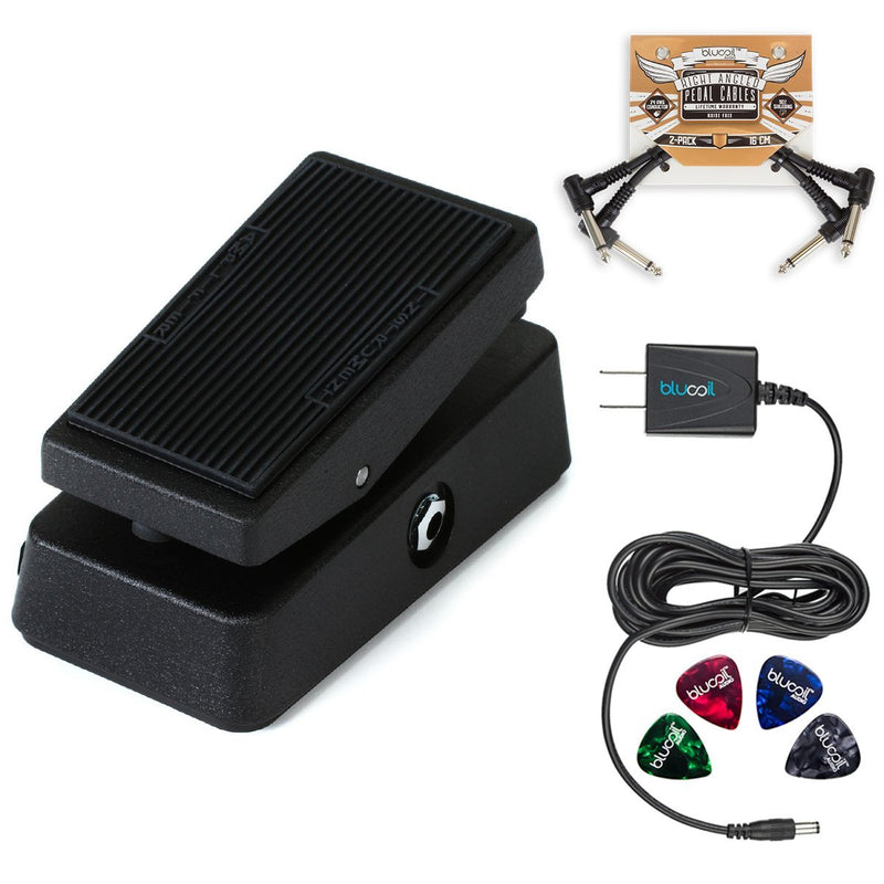 Jim Dunlop CBM95 Cry Baby Mini Wah Pedal Bundle with Blucoil Slim 9V 670ma Power Supply AC Adapter, 2-Pack of Blucoil Pedal Patch Cables and 4-Pack of Celluloid Guitar Picks