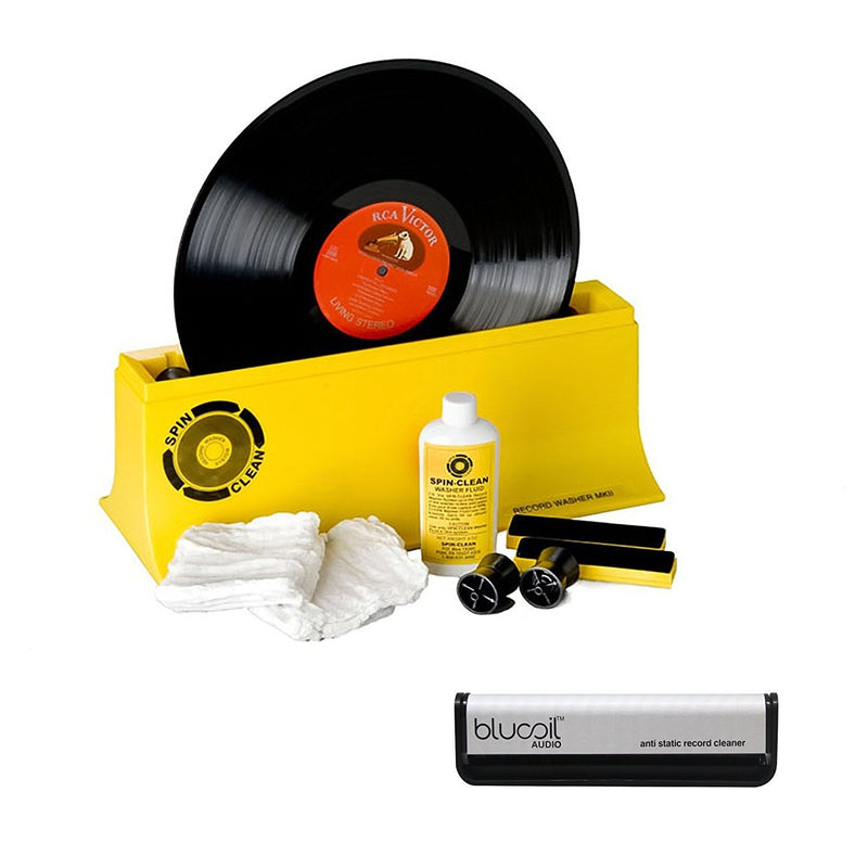 Spin Clean Starter Kit Record Washer System MK2 Bundle with Blucoil Audio Anti-Static Carbon Fiber Vinyl LP Record Cleaning Brush