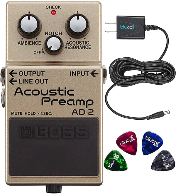 Boss AD-2 Acoustic Preamp Pedal Bundle with Blucoil Power Supply Slim AC/DC Adapter for 9 Volt DC 670mA and 4-Pack of Celluloid Guitar Picks