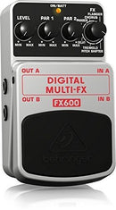 Behringer FX600 Digital Multi-FX Pedal Bundle with Blucoil Power Supply Slim AC/DC Adapter 9V DC 670mA with US Plug