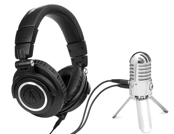Audio-Technica ATH-M50x Professional Studio Monitor Headphones PLUS Samson Meteor USB Studio Microphone (Chrome) - HOME RECORDING BUNDLE
