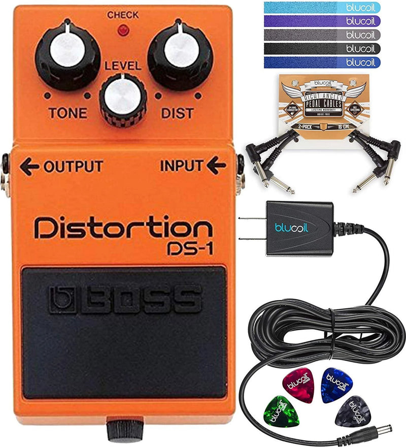 BOSS DS-1 Distortion Pedal for Guitars, Bass, Keyboards + Blucoil 9V AC Adapter + 2x Patch Cables + 4x Guitar Picks