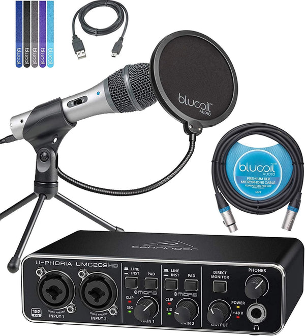 Behringer UMC202HD Audio Interface + Audio-Technica ATR2100-USB USB XLR Microphone + Blucoil 10' XLR Cable + Pop Filter