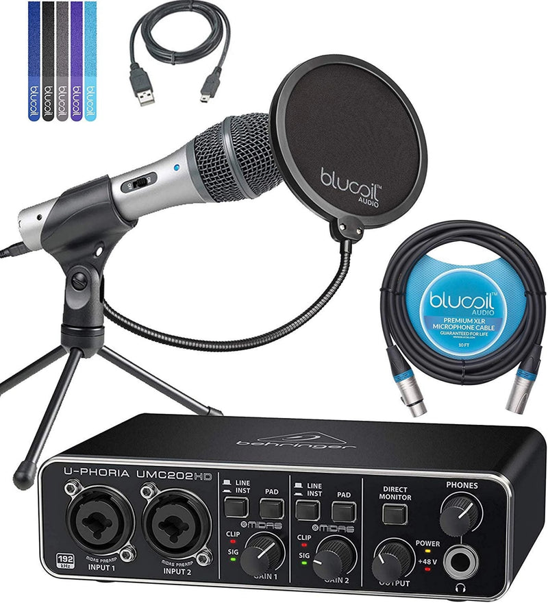 Behringer U-PHORIA UMC202HD USB Audio Interface Bundle with Audio-Technica ATR2100-USB Cardioid Dynamic USB/XLR Microphone, Blucoil 10-FT Balanced XLR Cable, Pop Filter Windscreen, and 5x Cable Ties
