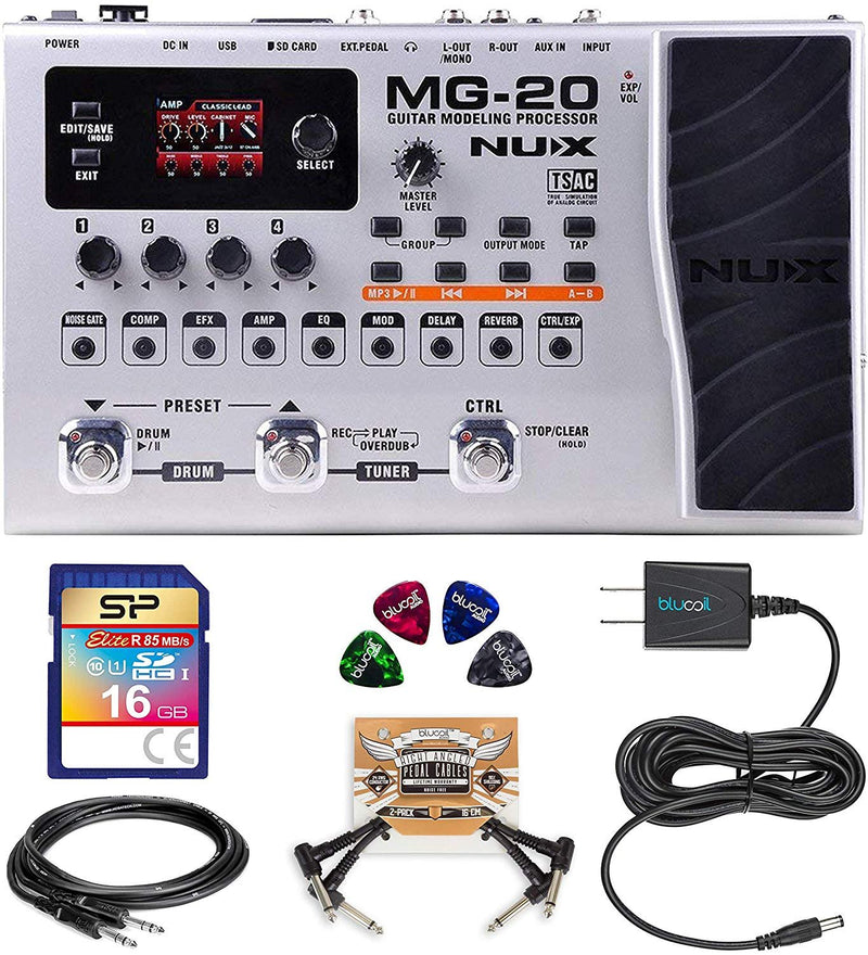 NUX MG-20 Guitar Modeling Processor Bundle with Elite 16GB Class 10 SDHC UHS-1 Memory Card, Hosa 10-FT Straight Instrument Cable (1/4in), Blucoil 9V Power Supply, 2 Pedal Patch Cable, and Guitar Picks