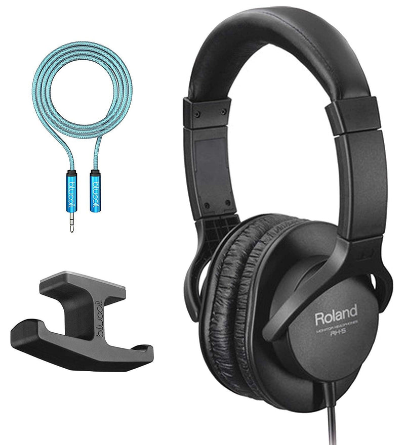 Roland RH-5 Stereo Headphones Bundle with 6-FT Headphone Extension Cable (3.5mm) and Under Desk Dual-Headphone Stand Mount