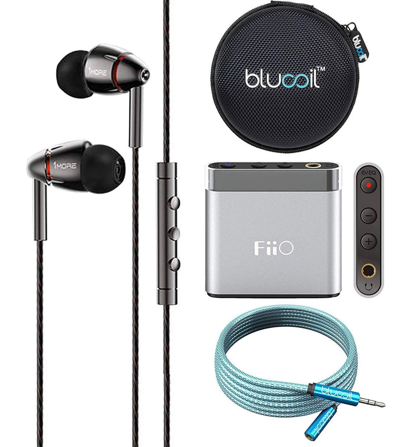 1MORE E1010 Quad Driver in-Ear Headphones Bundle with FiiO A1 Silver Portable Headphone Amplifier, Blucoil 6-FT Headphone Extension Cable (3.5mm), and Portable Earphone Hard Case