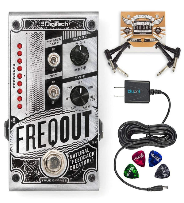 DigiTech FreqOut Natural Feedback Creator Effects Pedal + Blucoil 9V AC Adapter + 2x Pedal Patch Cables + 4x Guitar Picks