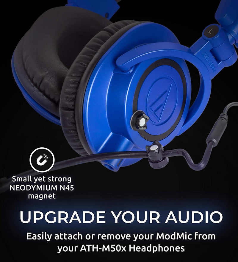 Audio-Technica ATH-M50xBB Headphones with Interchangeable Cables (Limited Edition Blue) Bundle with Antlion Audio ModMic 4 without Mute Switch, and Blucoil Y Splitter for Audio, Mic