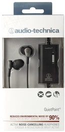 Audio-Technica ATH-ANC23 QuietPoint Active Noise-Cancelling In-Ear Headphones - INCLUDES - Blucoil 6 ft Extender + Earbud Case + 2 Pack AAA Batteries - ALL YOU NEED BUNDLE