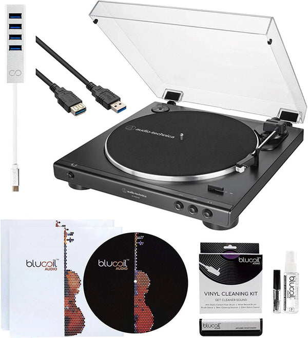Audio-Technica AT-LP60XUSB USB Turntable + 10-FT USB Cable + Blucoil Type-C Hub + Vinyl Cleaning Kit