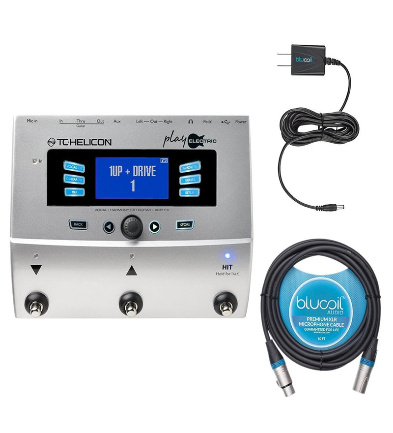 TC Helicon Play Electric Multi-Effects Processor for Vocals, Guitars, Amps Bundle with Blucoil Power Supply Slim AC/DC Adapter 12V DC 1000mA with US Plug and 10' Balanced XLR Cable