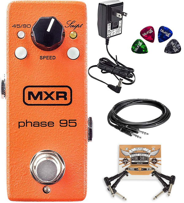 MXR M290 Phase 95 Pedal for Electric Guitars Bundle with Hosa 10-FT Straight Instrument Cable (1/4in), 2-Pack of Blucoil Pedal Patch Cables and 4-Pack of Celluloid Guitar Picks
