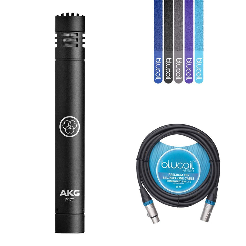 AKG Perception 170 P170 Condenser Microphone for Drum Overheads, Acoustic Guitars, Percussions Bundle with Blucoil 10-Ft Balanced XLR Cable and 5 Pack of Cable Ties