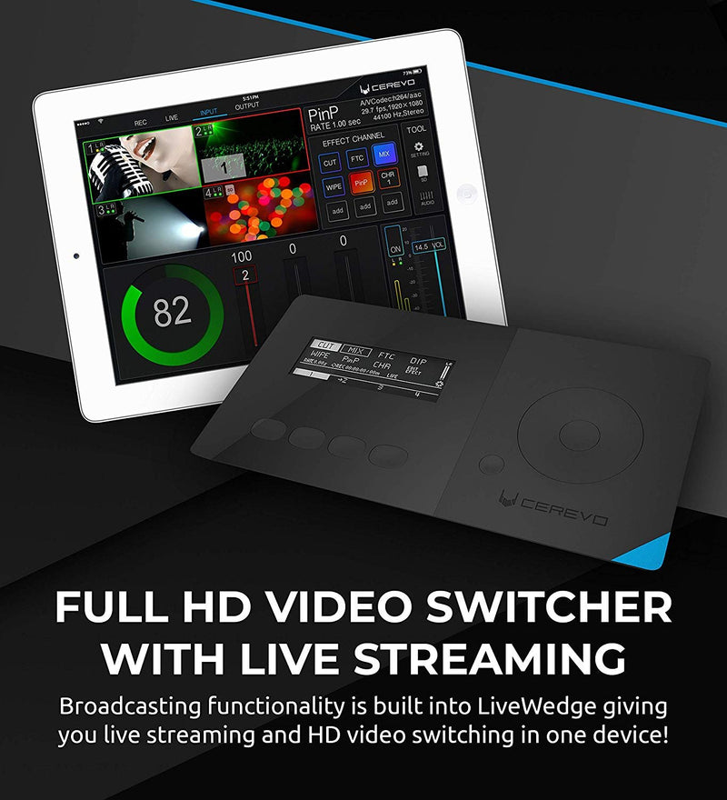 Cerevo LiveWedge All-in-One Video Switcher, Mixer, Recorder, Live Streamer - Ethernet or Wi-Fi Connection - Compatible with Ustream and YouTube Live