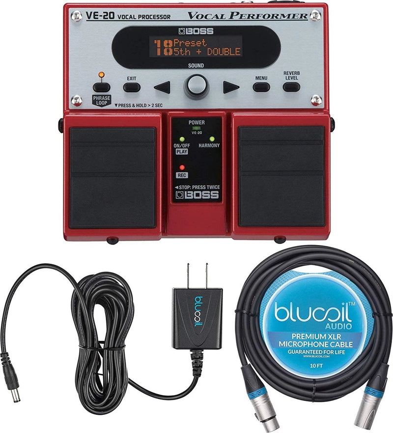 BOSS VE-20 Vocal Processor Multi Effects Pedal + Blucoil 9V AC Adapter + 10-FT Balanced XLR Cable