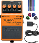 BOSS DS-2 Turbo Distortion Pedal Bundle with Blucoil Slim 9V 670ma Power Supply AC Adapter, 4-Pack of Celluloid Guitar Picks, and 5-Pack of Reusable Cable Ties