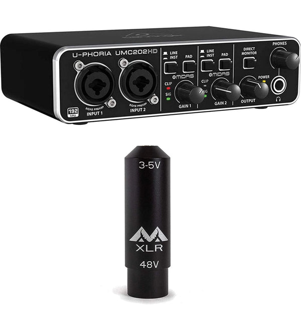 Behringer U-PHORIA UMC202HD Audio Interface + Antlion Audio XLR to 3.5mm Female TRS Adapter with Power Converter