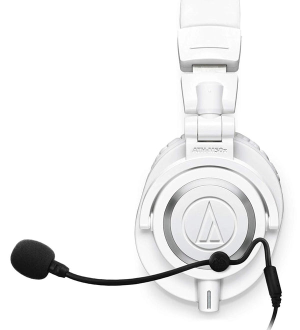 Audio-Technica ATH-M50x Headphones, White + Antlion Audio ModMic 4 without Mute Switch + Blucoil Y Splitter Cable