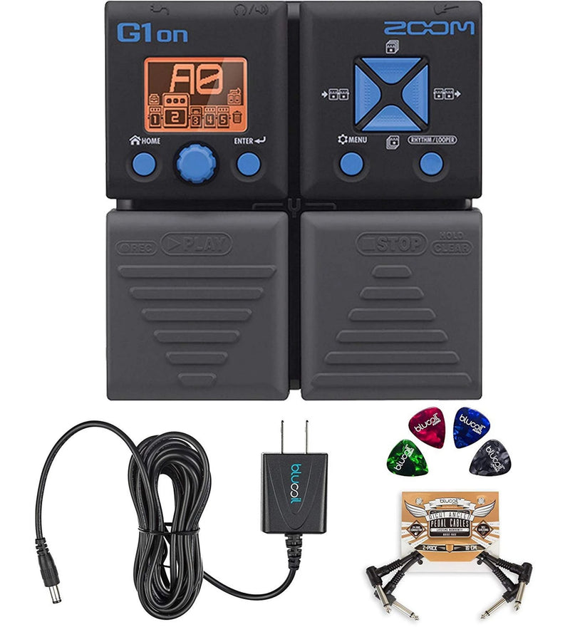 Zoom G1ON Multi-Effects Pedal Bundle with Blucoil Slim 9V 670ma Power Supply AC Adapter, 2-Pack of Pedal Patch Cables, and 4-Pack of Celluloid Guitar Picks