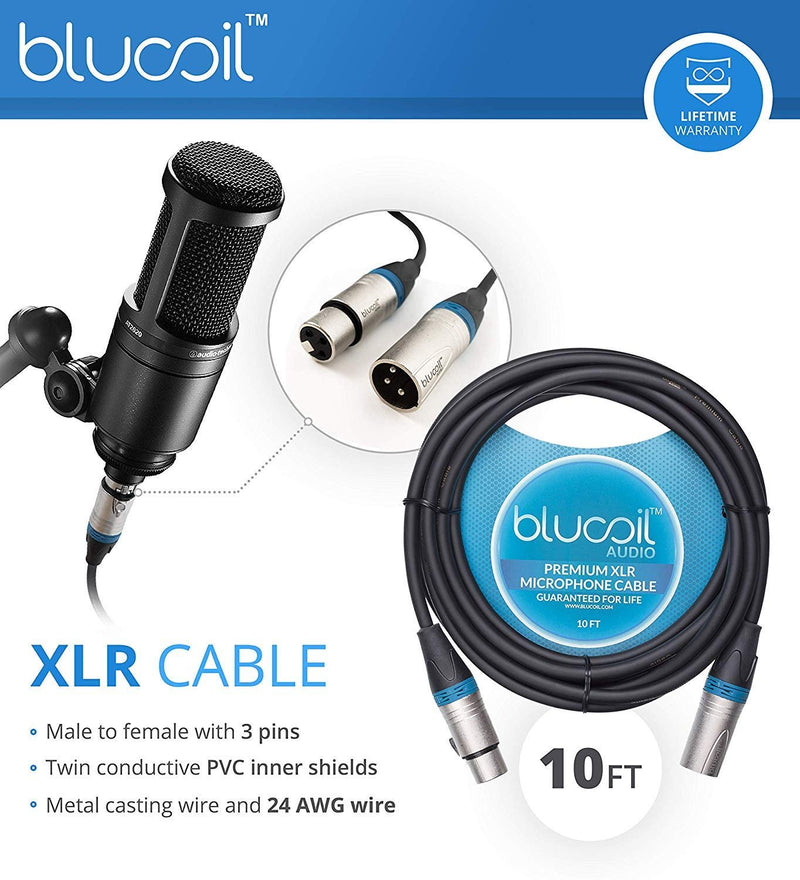 PreSonus Studio 24c USB-C Audio Interface Bundle with Studio One Artist Software, Studio Magic Plug-In Suite, Blucoil 2-Pack of 10-FT Balanced XLR Cables, Pop Filter Windscreen, and 5x Cable Ties