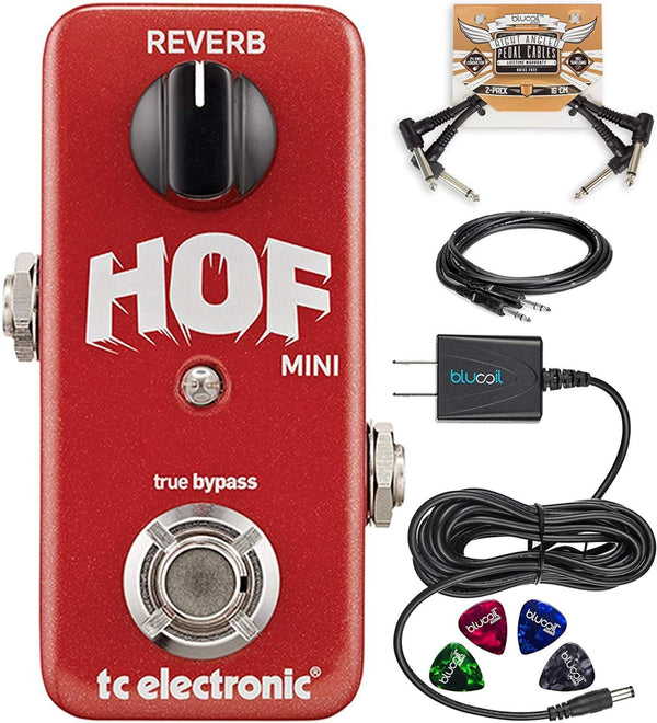 "TC Electronic Hall of Fame Mini Reverb Pedal with TonePrint Bundle with Hosa 10' Straight Instrument Cable (1/4""), Blucoil Slim 9V 670ma Power Supply AC Adapter, 2x Patch Cables, and 4x Guitar Picks"