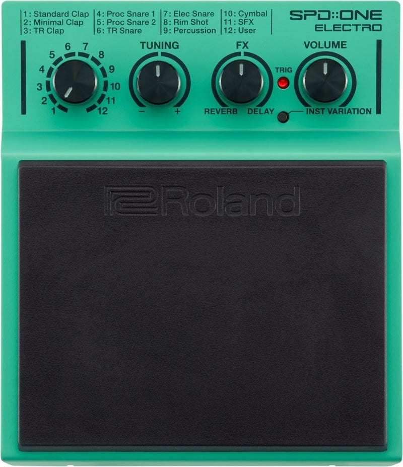 Roland SPD::ONE ELECTRO Percussion Drum Pad for Drummers and Percussionists Bundle with Mounting Attachment and 4 Blucoil AA batteries