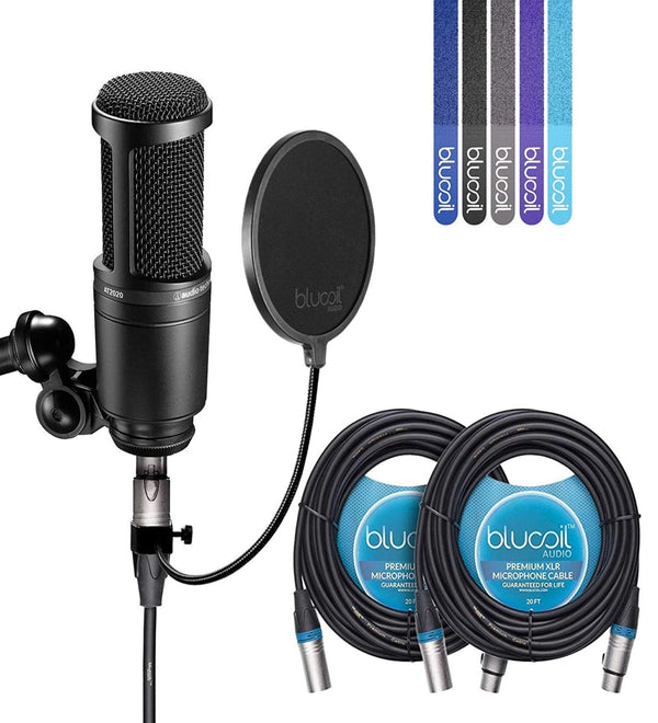 Audio-Technica AT2020 Condenser Microphone + Blucoil Pop Filter + 2x 20' XLR Cables + 5x Cable Ties