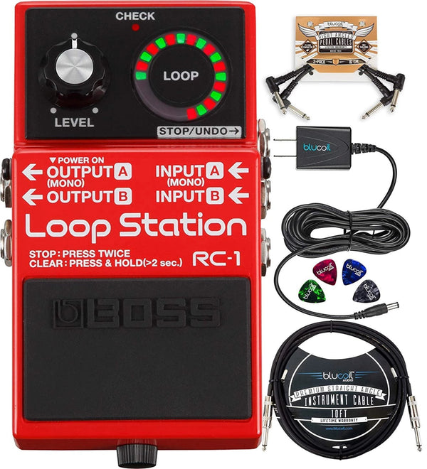 "BOSS RC-1 Loop Station Looper Pedal + Blucoil 9V AC Adapter + 10' Instrument Cable (1/4"") + 2x Patch Cables + 4x Guitar Picks"