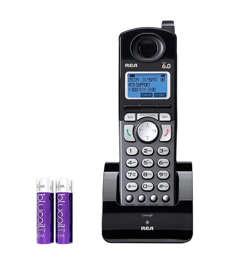 RCA 25055RE1 DECT 6.0 Cordless Accessory Handset with Built-in Voice Memo Recorder - 2 Line Phone Systems for Small Business Bundle with Blucoil 2 AA Batteries