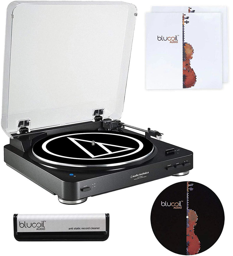 "Audio-Technica AT-LP60BK-BT Bluetooth Turntable + Blucoil Vinyl Cleaning Brush + 12"" Turntable Slipmat + LP Inner Sleeves"